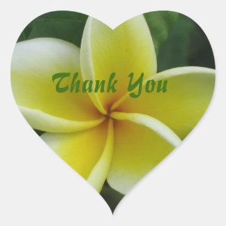 Yellow Plumeria Thank You Heart Sticker