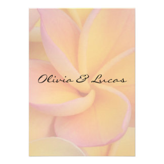 Yellow Plumeria Wedding Invitation