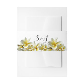Yellow Plumeria Wedding Monogram Belly Band Invitation Belly Band