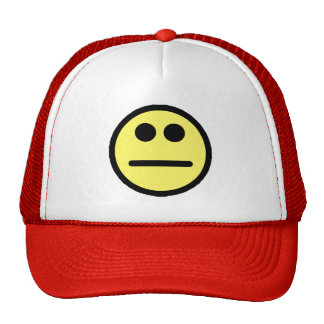 Yellow Poker Face Stare Smiley Face Trucker Hat