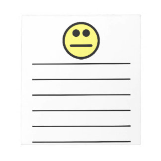Yellow Poker Face Stare Smiley Face Note Pad