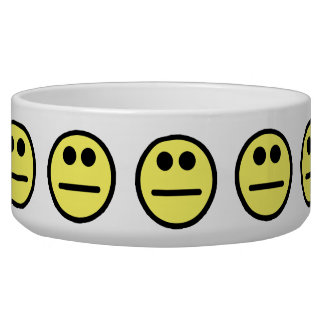Yellow Poker Face Stare Smiley Face Pet Water Bowls
