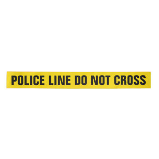 Yellow 'POLICE LINE' Satin Ribbon