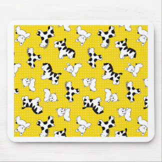 Yellow Polka Dot Baby Animals Mouse Pad