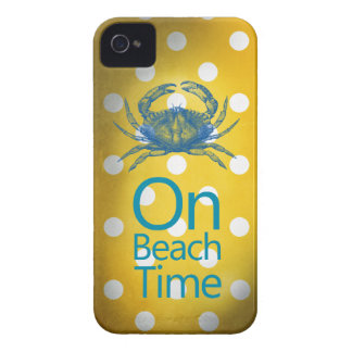"""Yellow Polka Dot Blue Crab """"On Beach Time"""" Case-Mate iPhone 4 Case"""