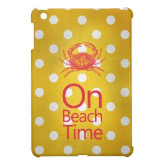"""Yellow Polka Dot Crab """"On Beach Time"""" iPad Mini Case"""