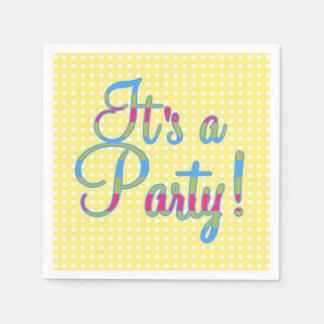Yellow Polka Dot It's A Party, Party Napkins Disposable Napkin