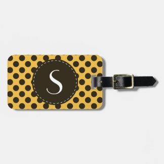 Yellow Polka Dot Monogram Personalised Luggage Tag