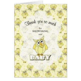Yellow Polka Dot Owl Baby Shower Theme Card