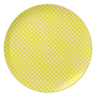 Yellow Polka Dot Pattern Melamine Plate