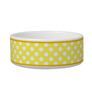 Yellow Polka Dot Pattern Small Ceramic Dog Bowl