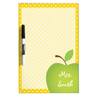 Yellow Polka Dot Teacher's Green Apple Dry Erase Whiteboards