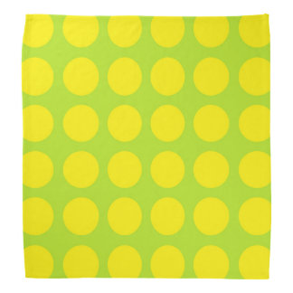 Yellow Polka Dots Lime Green Bandana