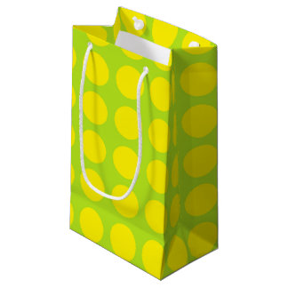 Yellow Polka Dots Lime Green Small Gift Bag