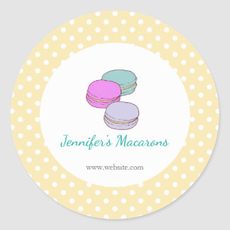 Yellow Polka Dots Macaron CUTE Product Label