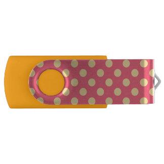 Yellow polka dots on coral swivel USB 2.0 flash drive