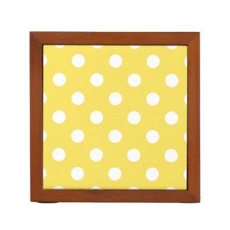 Yellow Polka Dots Pattern Desk Organiser