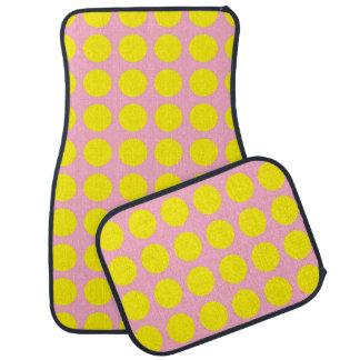Yellow Polka Dots Pink Car Mat