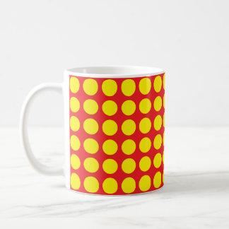 Yellow Polka Dots Red Coffee Mug