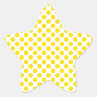 Yellow Polka Dots Star Sticker