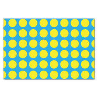 Yellow Polka Dots Turquoise Tissue Paper