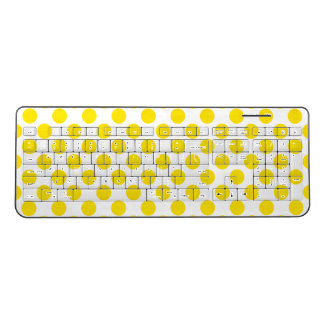 Yellow Polka Dots Wireless Keyboard