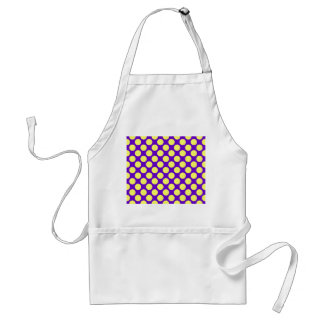 Yellow Polka Dots With Purple Background Aprons