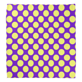 Yellow Polka Dots With Purple Background Bandana