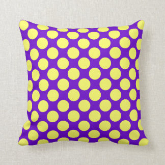 Yellow Polka Dots With Purple Background Cushion
