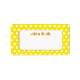 Yellow Polkadot Address Label