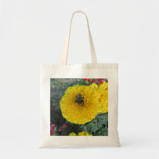 Yellow Pompom Marigold Flower Bee Tote Bag