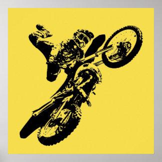 Yellow Pop Art Motocross Motorcyle Sport Poster