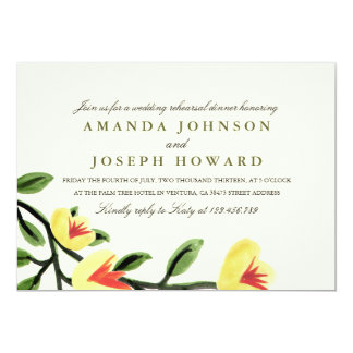 Yellow Poppies Rehearsal Dinner Invite