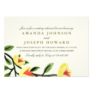 Yellow Poppies Rehearsal Dinner Invite Custom Invites