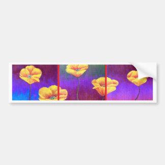 Yellow Poppy Flower Painting - Multi Bumper Sticker