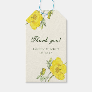"""Yellow poppy wedding """"Thank You"""" favour tag with"""