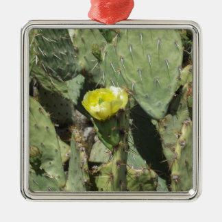 Yellow Prickly Pear Blossom Silver-Colored Square Decoration