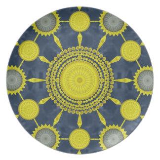 Yellow Prickly Pear Cactus Mandala Plate