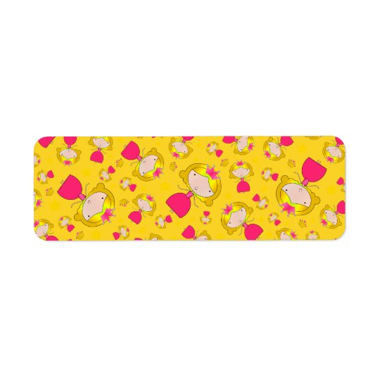 Yellow princesses and stars return address label
