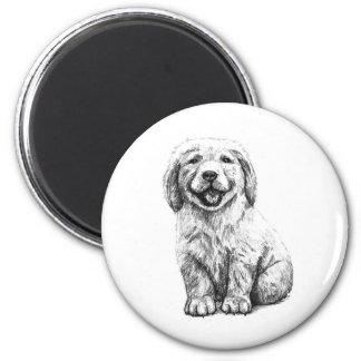 Yellow Puppy Lab 6 Cm Round Magnet