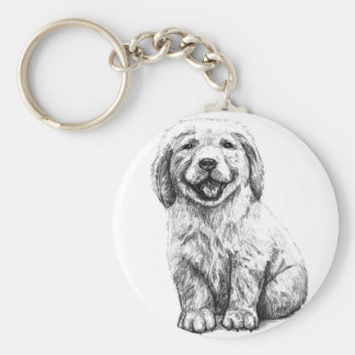 Yellow Puppy Lab Basic Round Button Key Ring