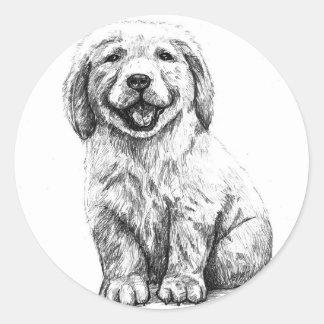 Yellow Puppy Lab Round Sticker