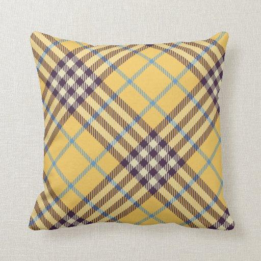 yellow purple and blue tartan throw cushion zazzle