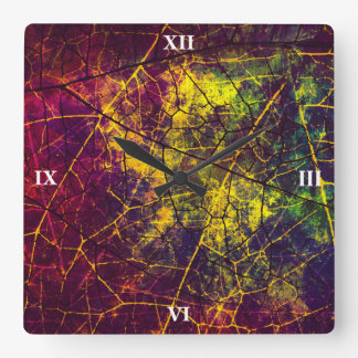 Yellow Purple Blue Crackle Lacquer Grunge Pattern Square Wall Clock