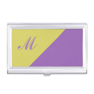 Yellow Purple Colour Block Monogram initial Business Card Case