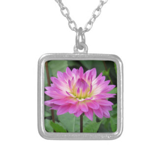 Yellow Purple Dahlia Silver Plated Necklace