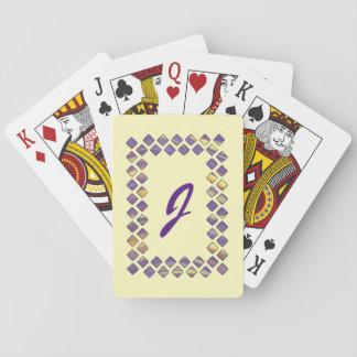 Yellow Purple Diamond Blends Monogram Playing Card Card Decks