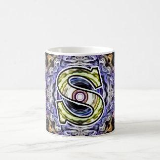 Yellow Purple Fractal Electricity S Basic White Mug