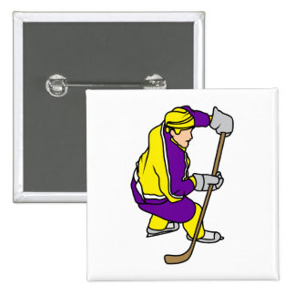 Yellow Purple Ice Hockey Player Buttons