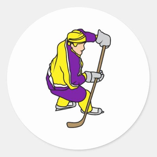 Yellow Purple Ice Hockey Player Round Stickers